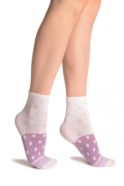 White With Wide Lilac Dotted Stripe Ankle High Socks