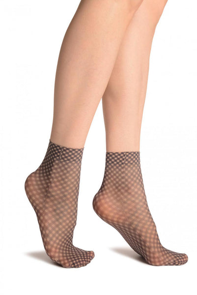 Checkered Print 20 Den Ankle High Socks