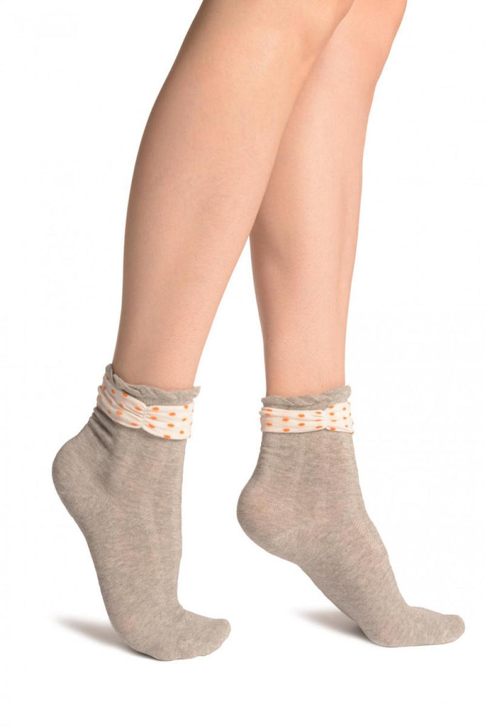 Grey With Around The Ankle Bow Ankle High Socks