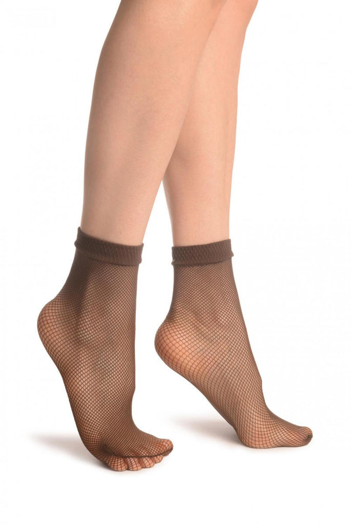 Brown Fishnet Ankle High Socks