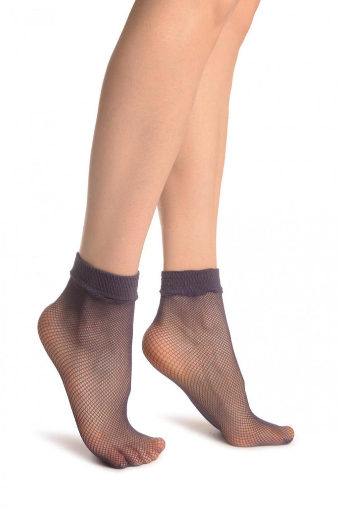 Purple Fishnet Ankle High Socks
