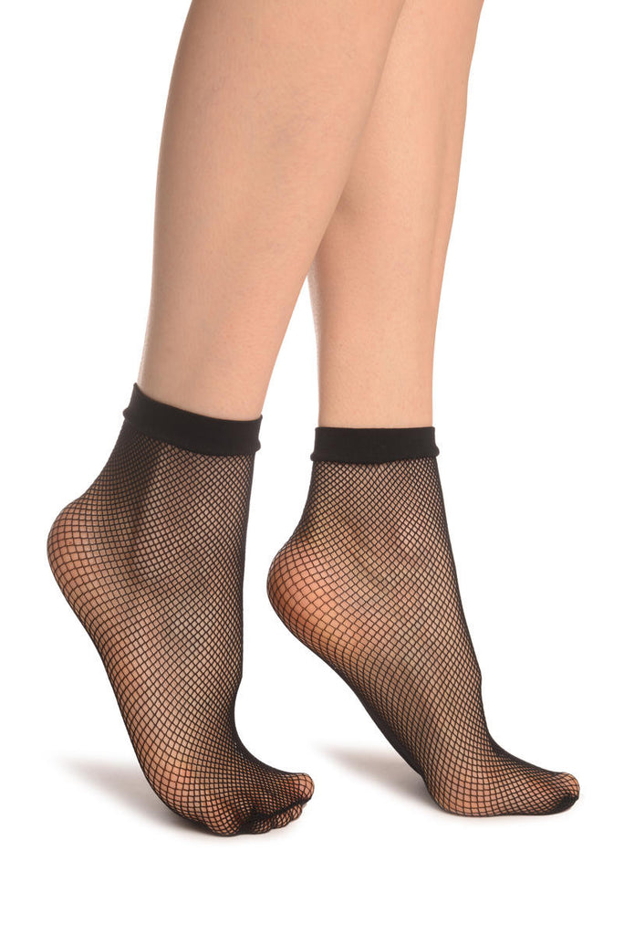 Black Fishnet Ankle High Socks