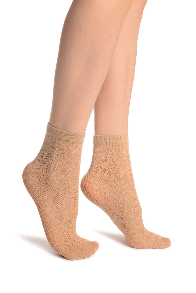 Beige Geometrical Crochet Lace Ankle High Socks