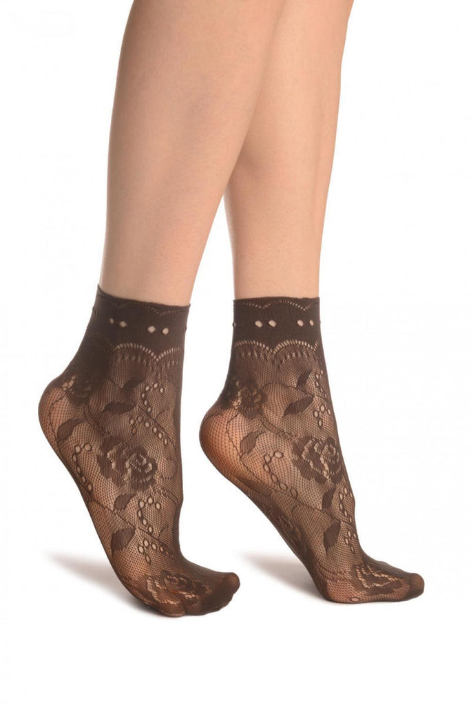 Brown Roses Lace With Comfort Top Ankle High Socks