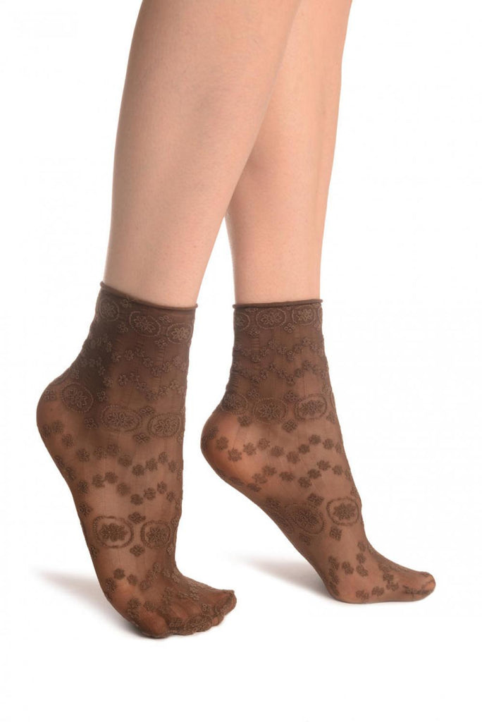 Brown Water Lilly With Comfortable Top Ankle High Socks
