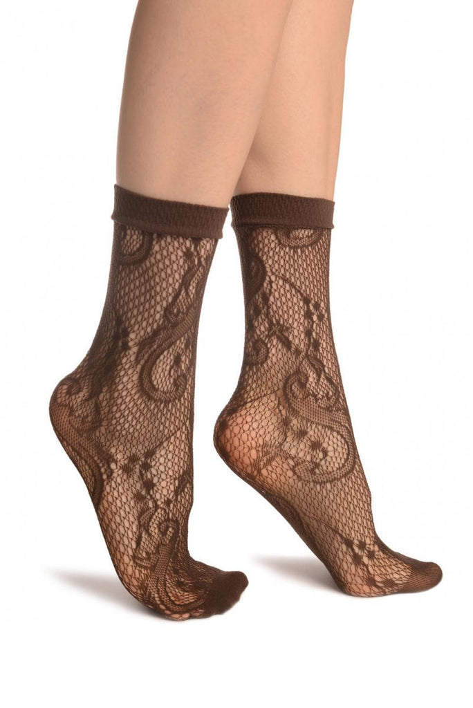 Brown Gladiolus Flowers Ankle High Socks