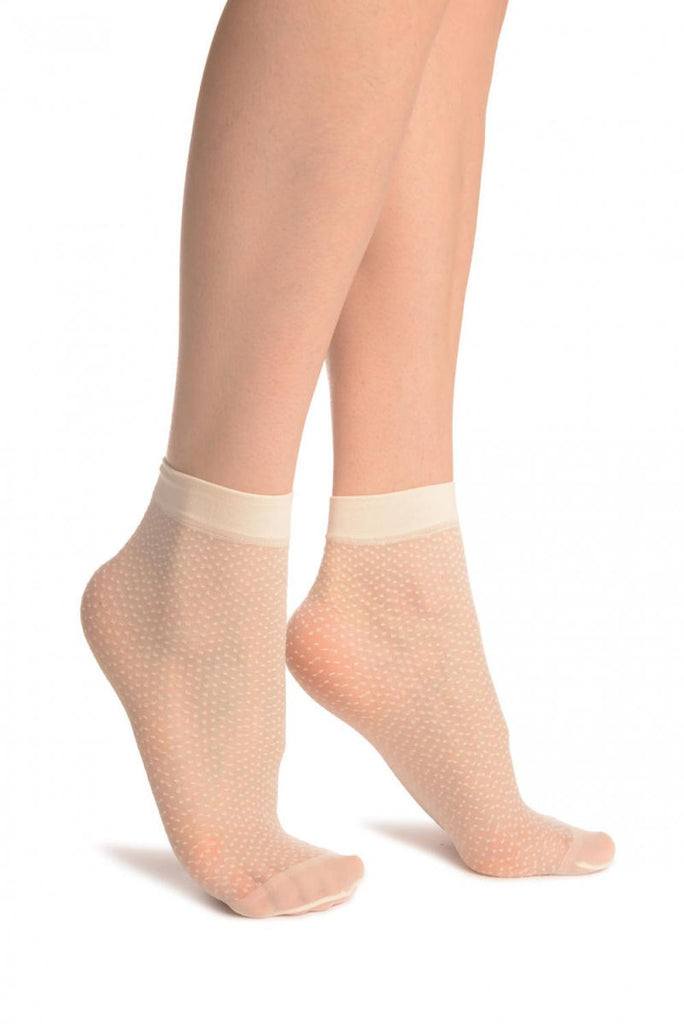 Cream Woven Dots Ankle High Socks