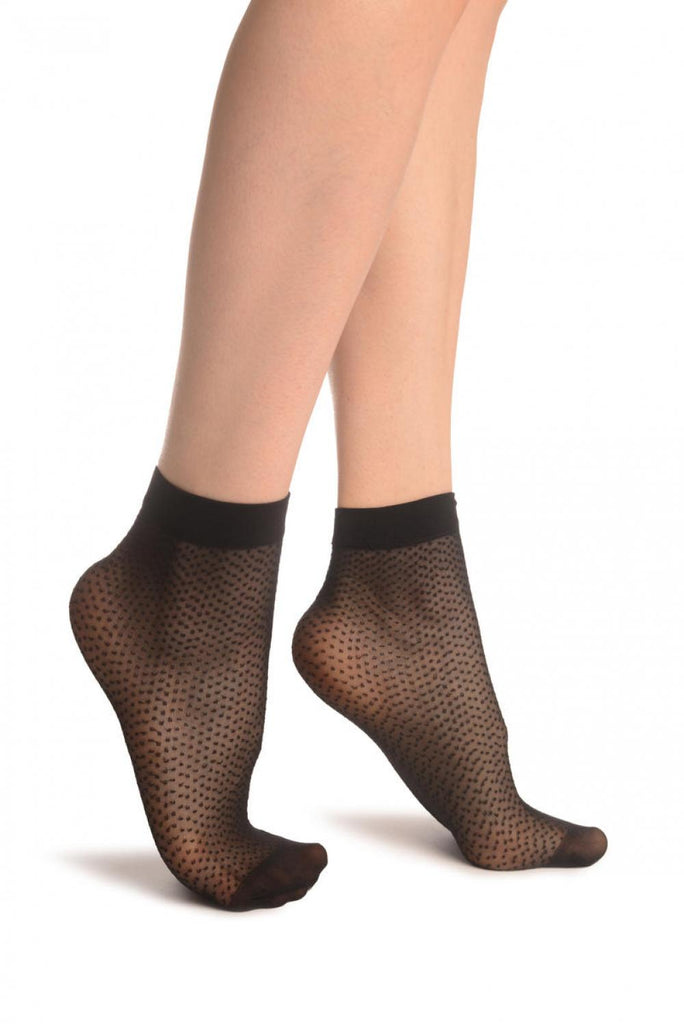 Black Woven Dots Ankle High Socks