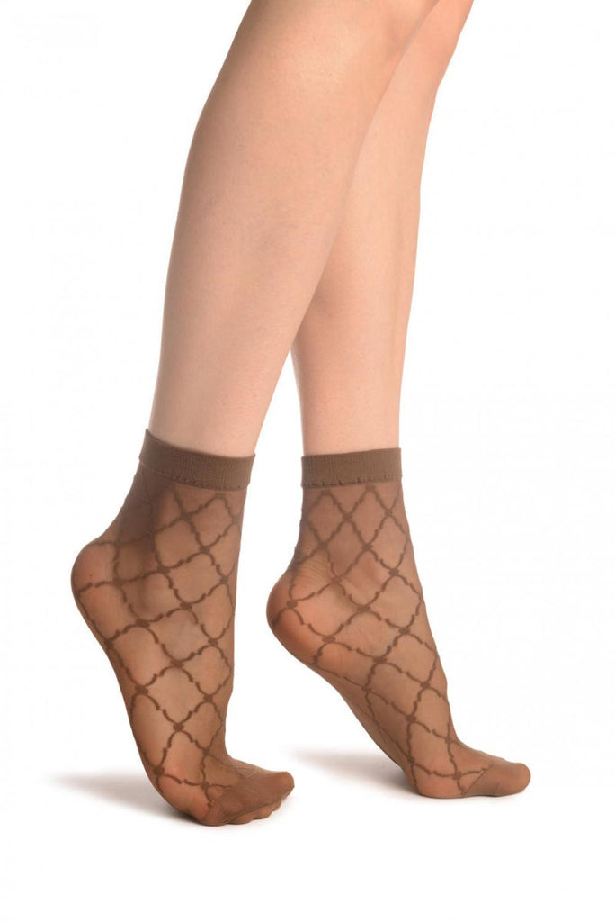 Brown Diamonds & Dots Ankle High Socks