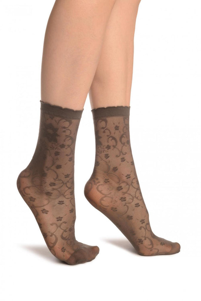 Grey Orchides On Lace Ankle High Socks