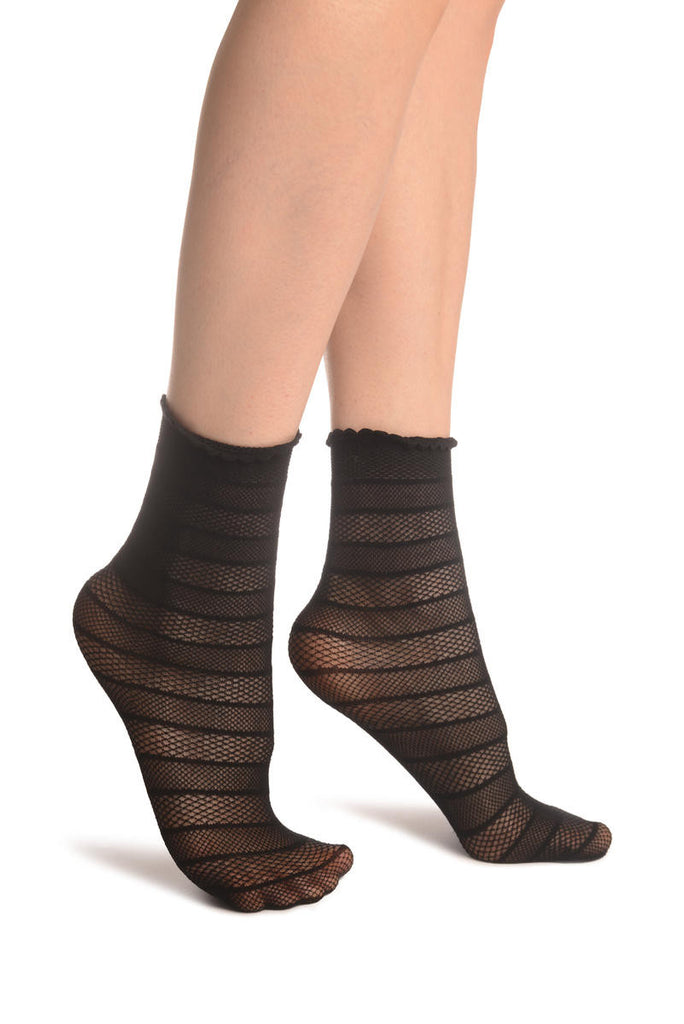 Black Textured Stripes Ankle High Socks