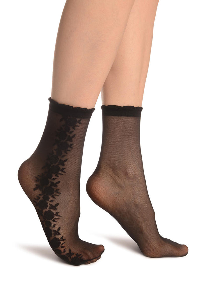 Black Mesh With Roses On The Side Ankle High Socks