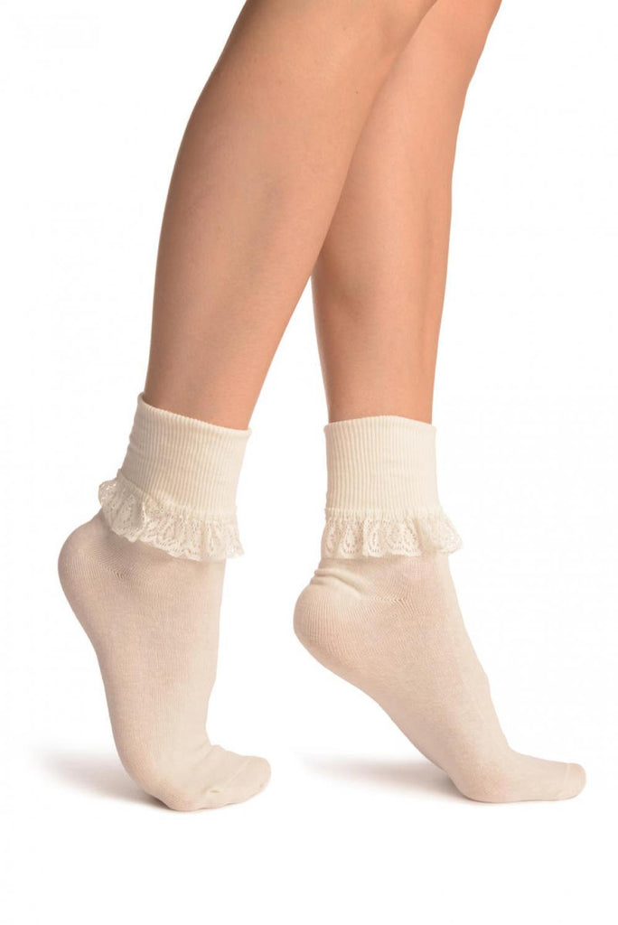 Cream With Cream Lace Trim Ankle High Socks