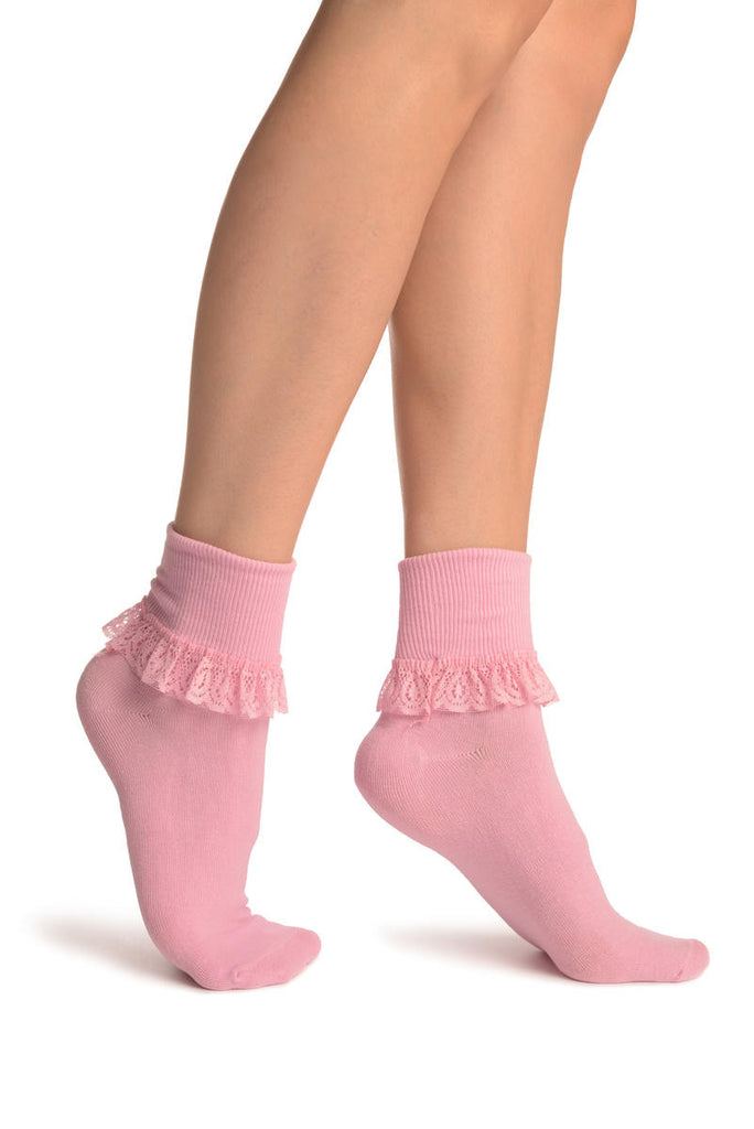Baby Pink With Pink Lace Trim Ankle High Socks