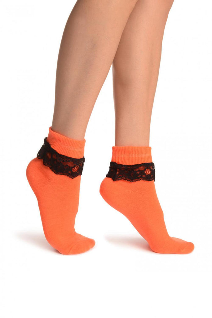 Neon Orange With Black Lace Trim Ankle High Socks