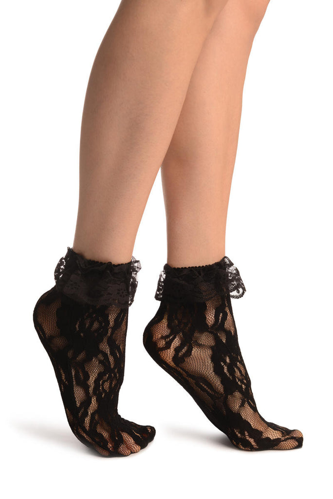 Black Ruffled Stretch Lace Ankle High Socks