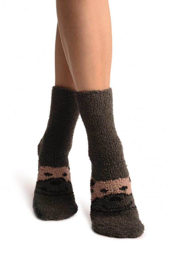 Grey With Cute Bear Terry Ankle High Socks