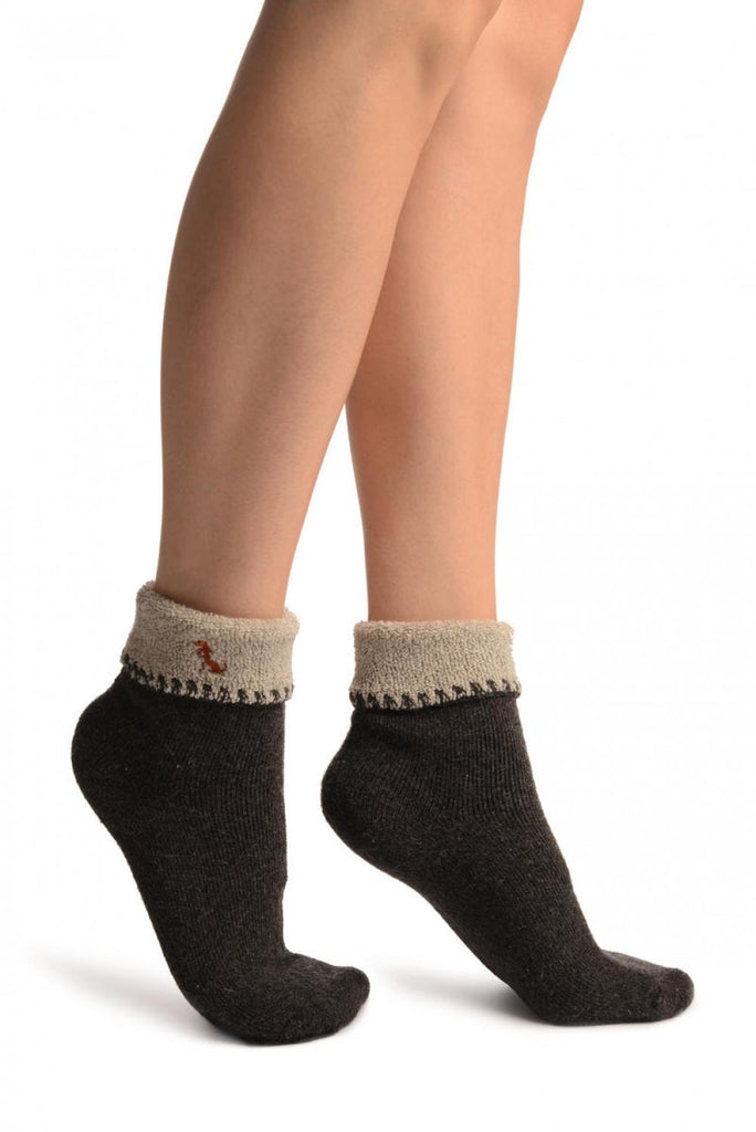 Grey With Cute Dog Flip Top Angora Ankle High Socks