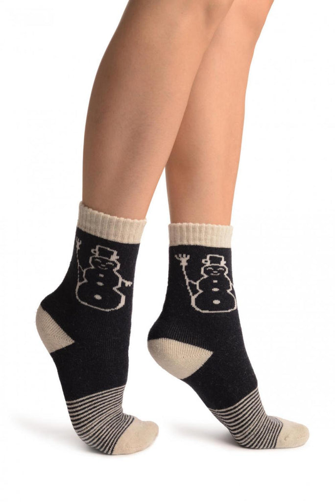 Dark Blue With Thing Stripes & Snowman Angora Ankle High Socks