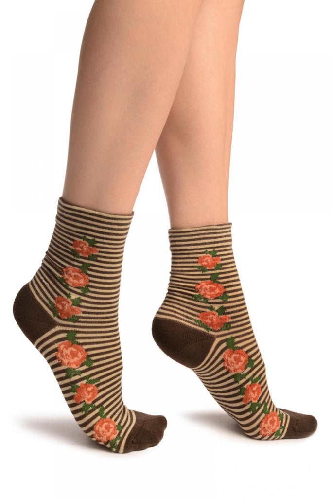 Brown & Beige Stripes & Roses With Comfort Top Ankle High Socks