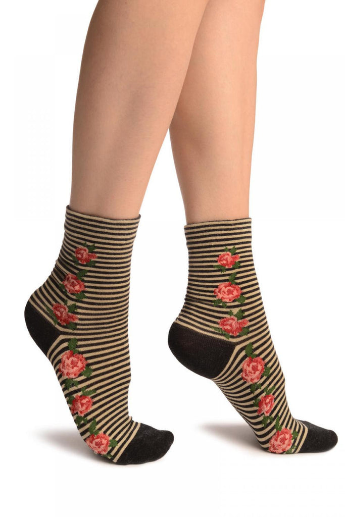 Black & Beige Stripes & Roses With Comfort Top Ankle High Socks