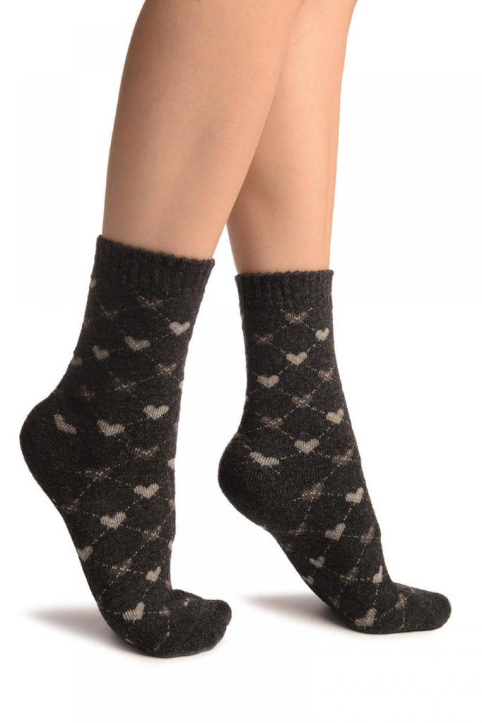 Grey Hearts On Dark Grey Angora Ankle High Socks