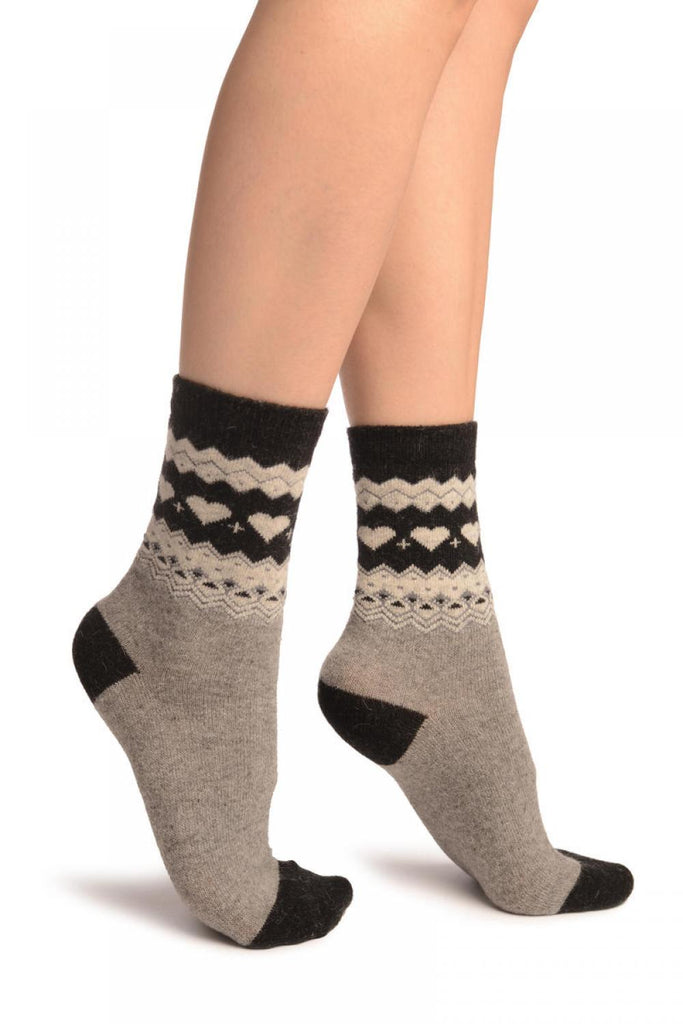 Grey With Hearts & Black Top Angora Ankle High Socks