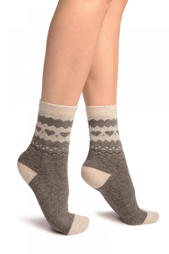 Grey With Hearts & Light Grey Angora Ankle High Socks