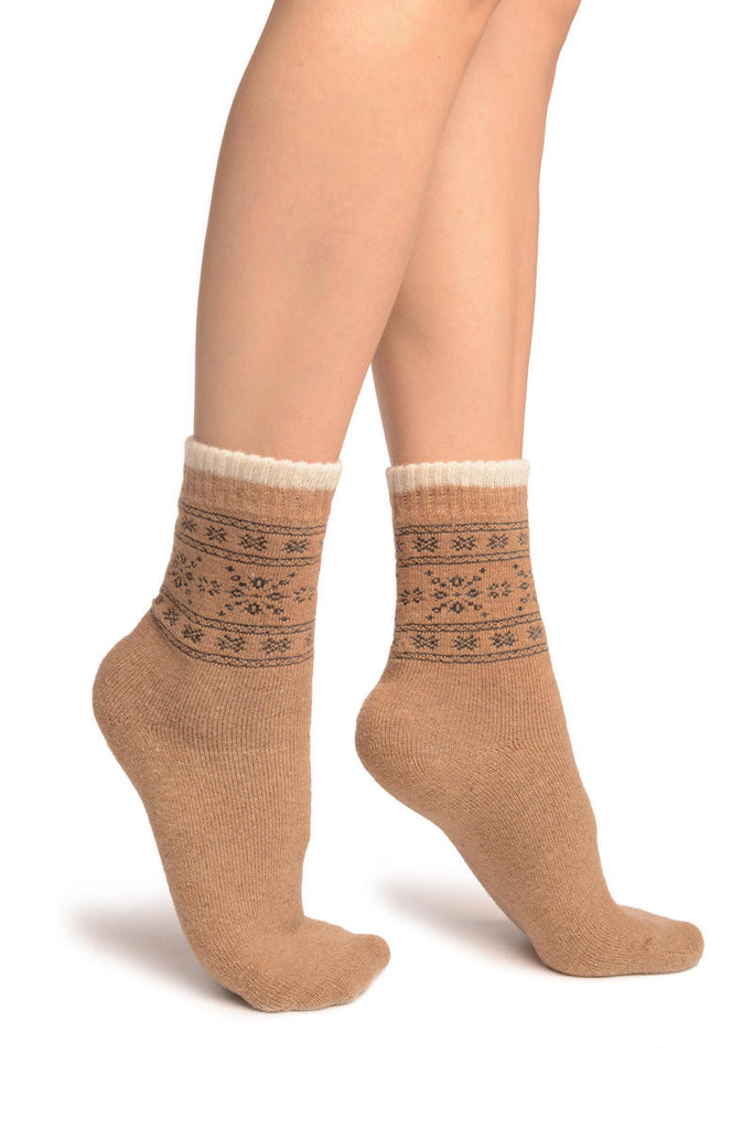 Arctic Snowflakes On Beige Angora Ankle High Socks