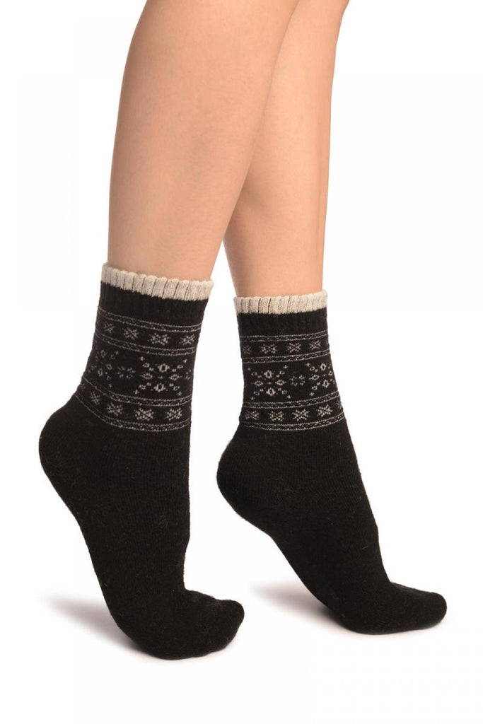 Arctic Snowflakes On Black Angora Ankle High Socks