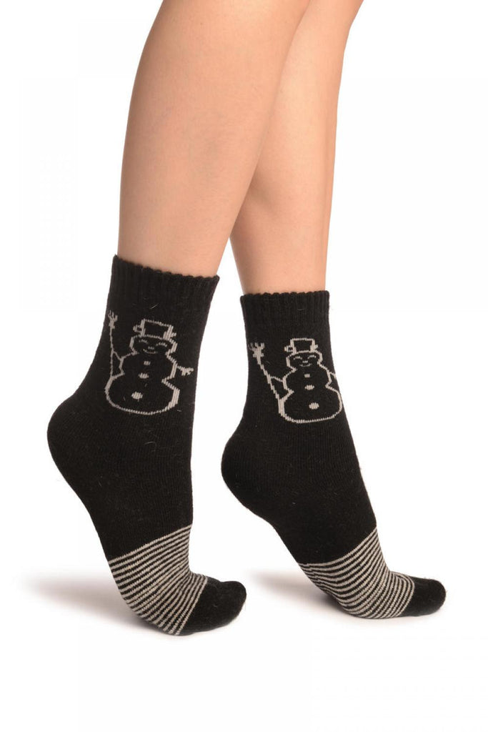 Black With Thing Stripes & Snowman Angora Ankle High Socks