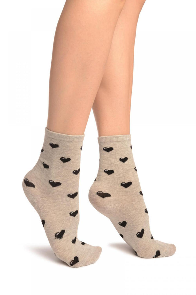 Hearts All Over Grey Ankle High Socks