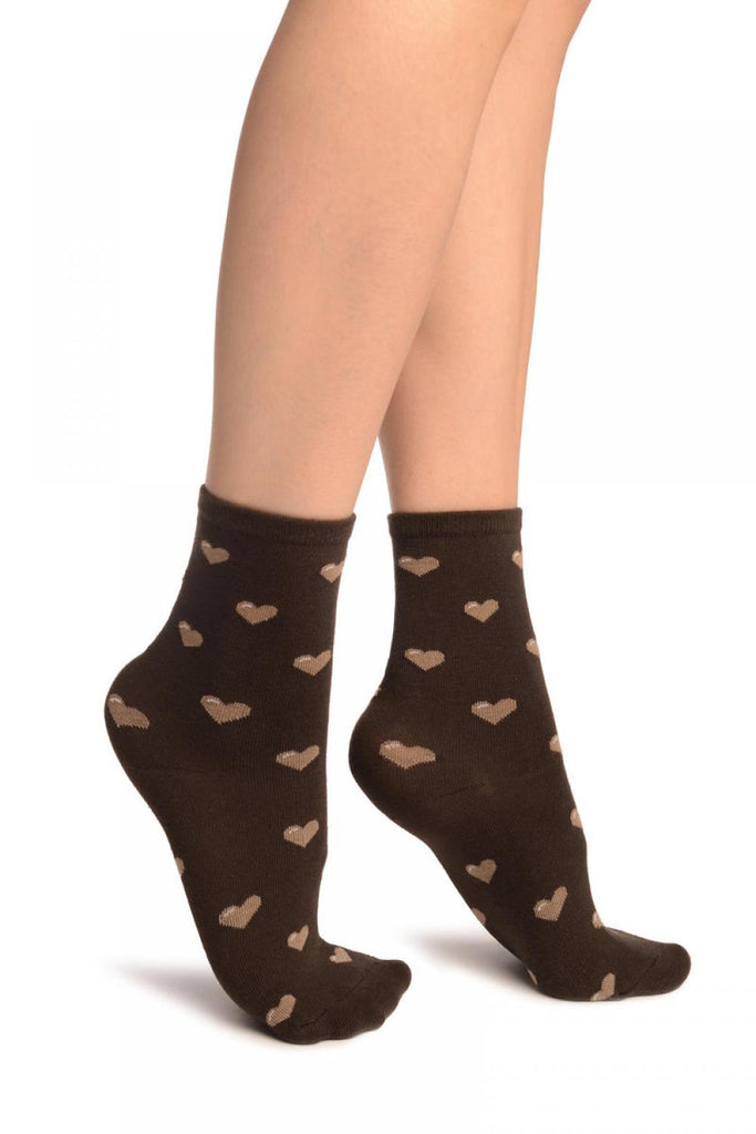 Hearts All Over Brown Ankle High Socks