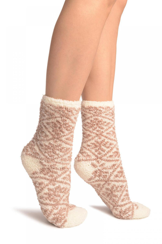 Beige Nordic Pattern Soft Feather Touch Bed Lounge Socks
