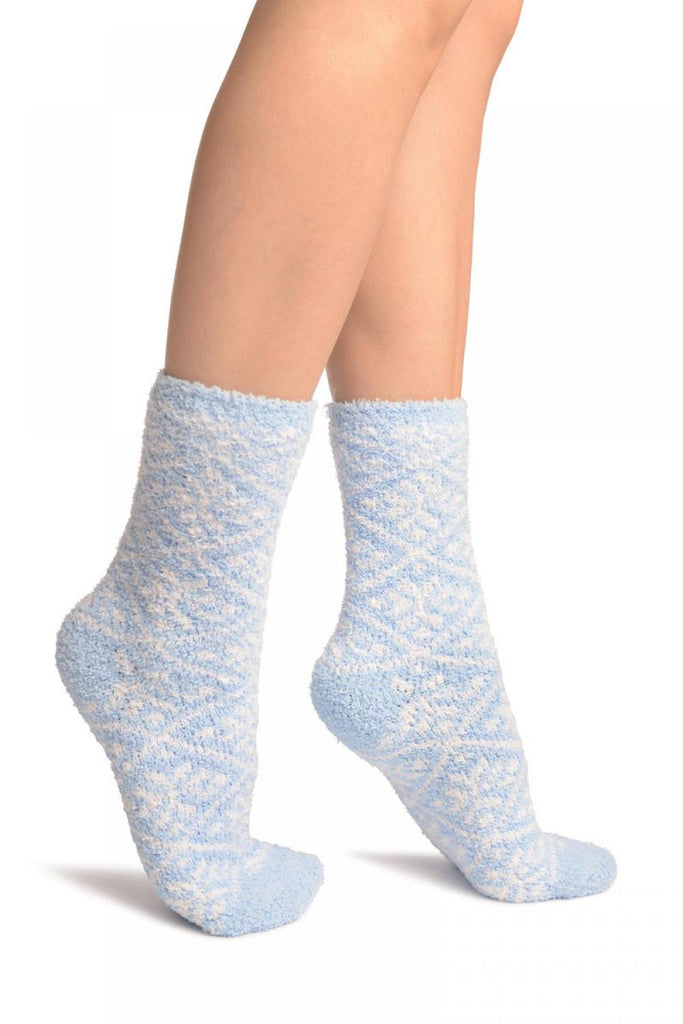 Blue Nordic Pattern Soft Feather Touch Bed Lounge Socks
