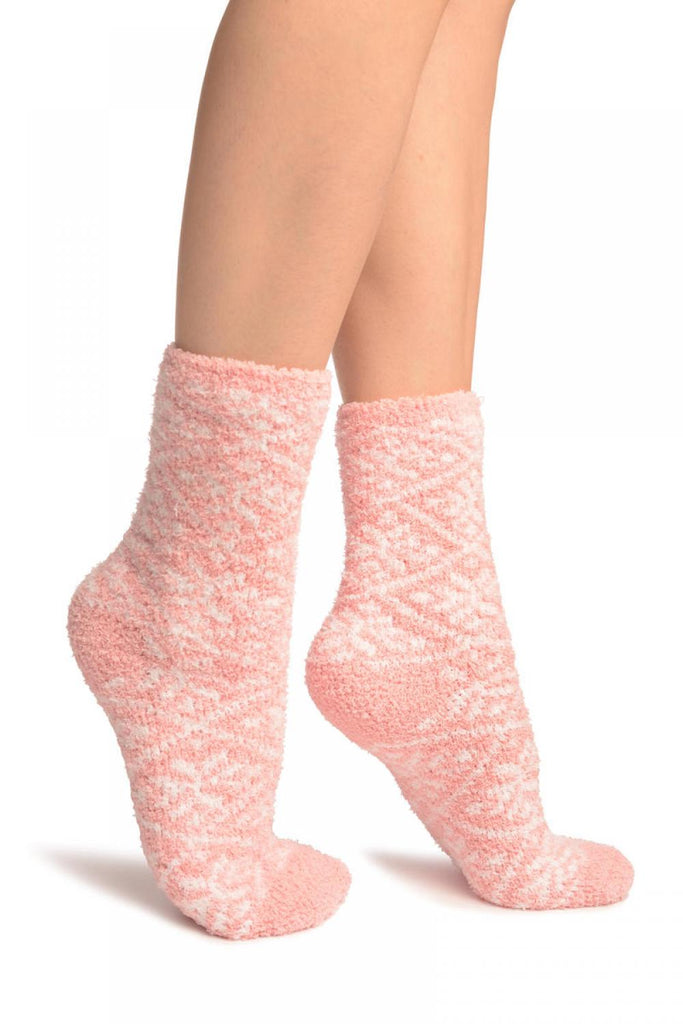 Pink Nordic Pattern Soft Feather Touch Bed Lounge Socks