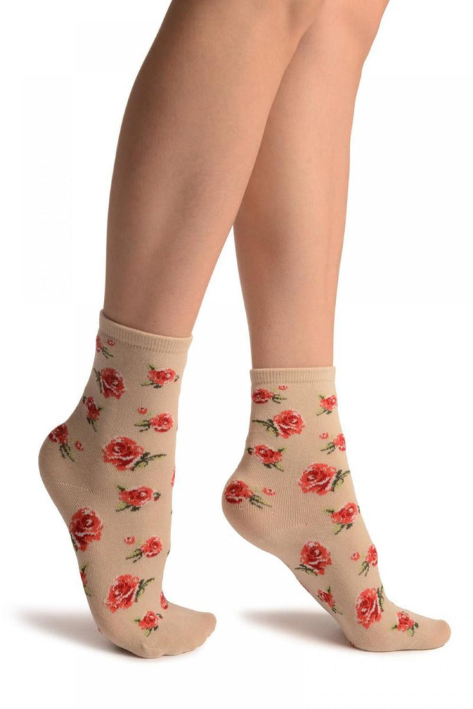 Beige With Red Woven Roses Ankle High Socks