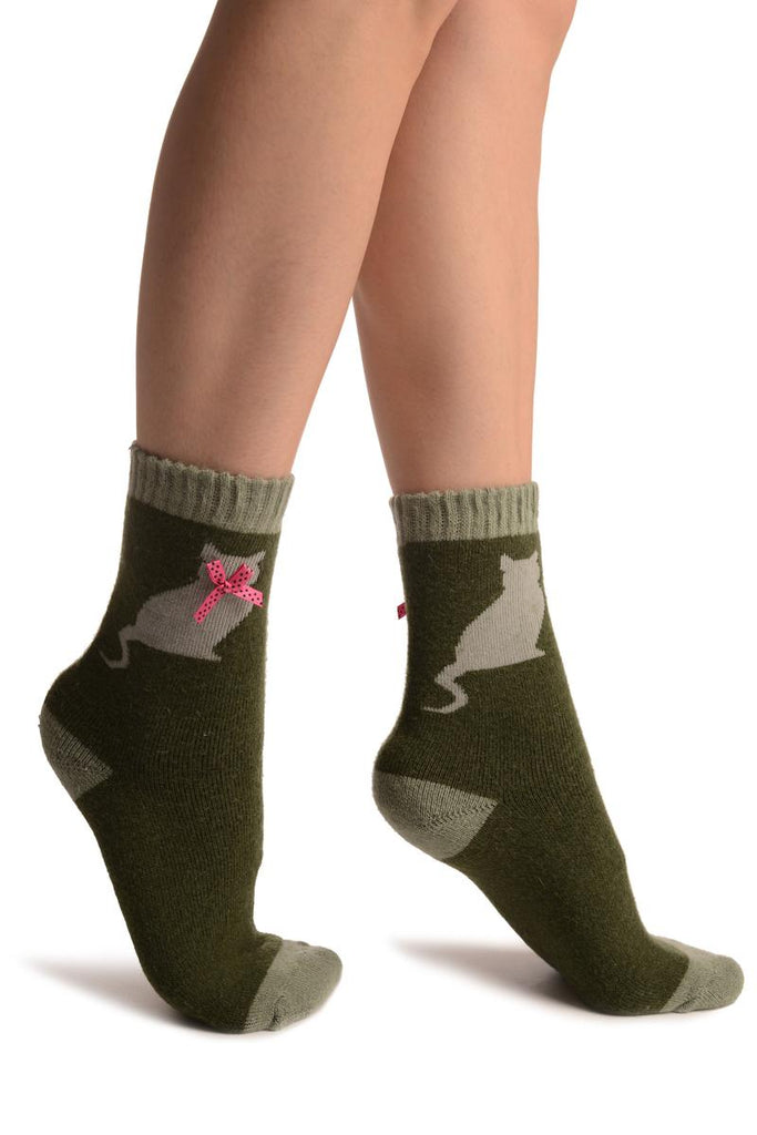 Green With Cute Cat & Satin Bow Angora Ankle High Socks