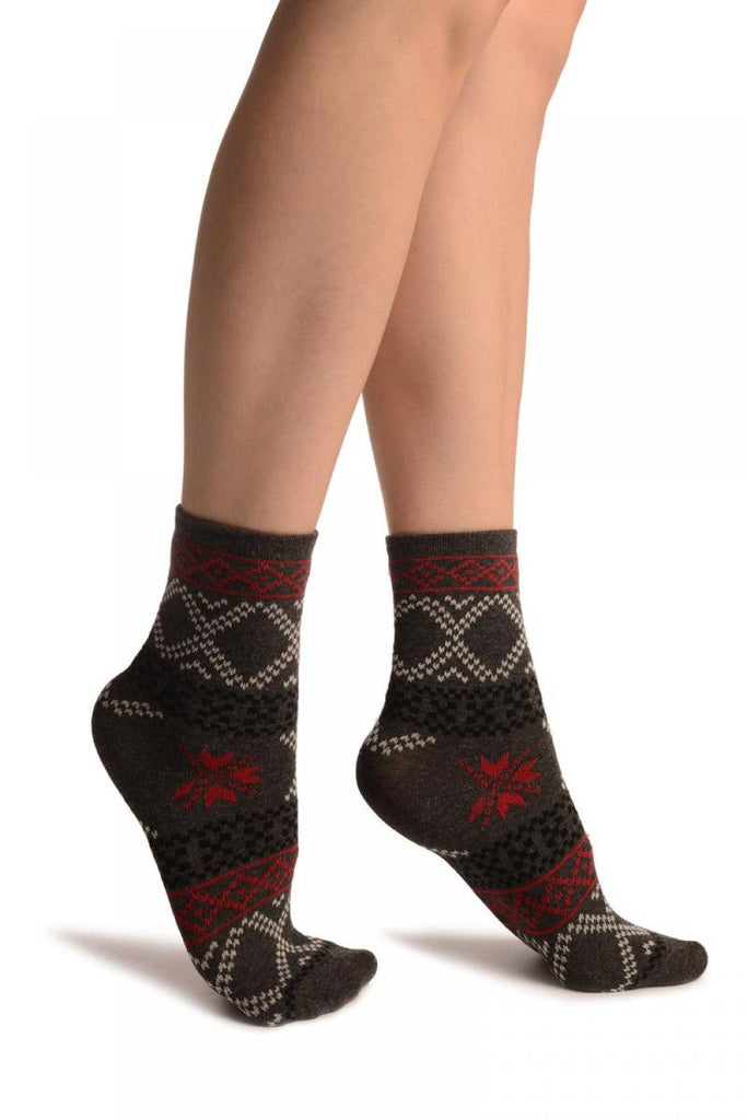 Dark Grey With Nordic Pattern Ankle High Socks