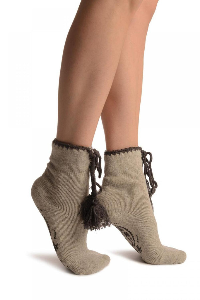 Grey Lace Up With Silicon Grip Angora Ankle High Socks