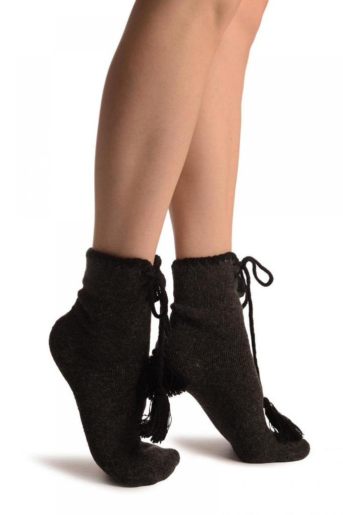 Dark Grey Lace Up With Silicon Grip Angora Ankle High Socks