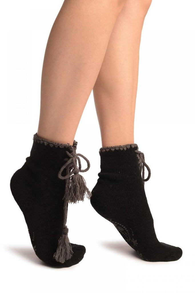Black Lace Up With Silicon Grip Angora Ankle High Socks