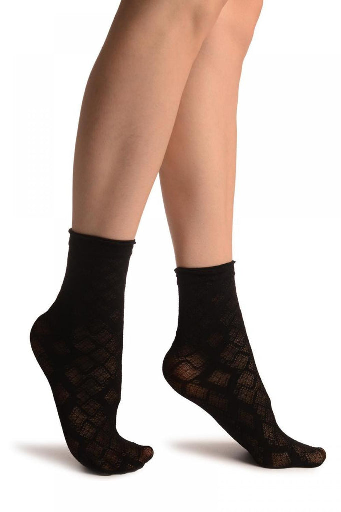 Black With Transparent Diamonds Ankle High Socks