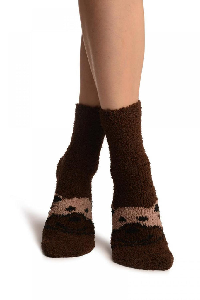 Brown With Cute Bear Terry Ankle High Socks