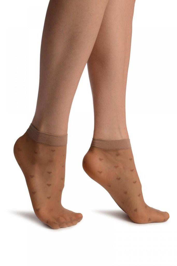 Beige With Little Hearts Ankle High Socks