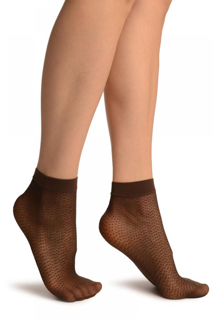 Brown Woven Dots Ankle High Socks