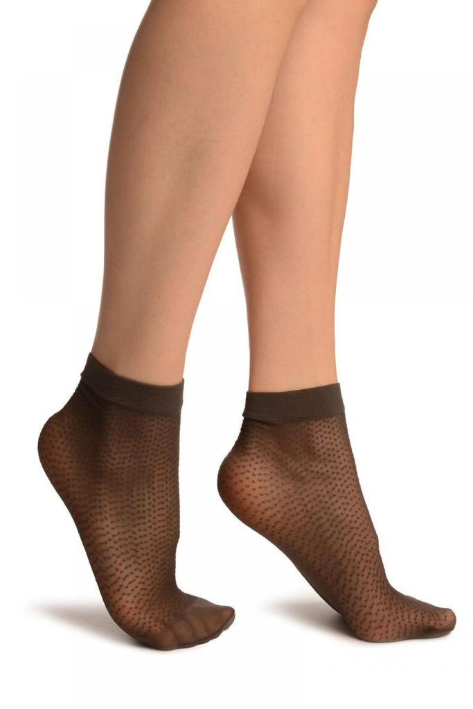 Dark Grey Woven Dots Ankle High Socks