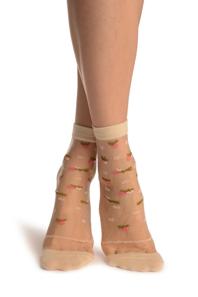 Beige With Little Woven Flowers On Invisible Mesh Ankle High Socks