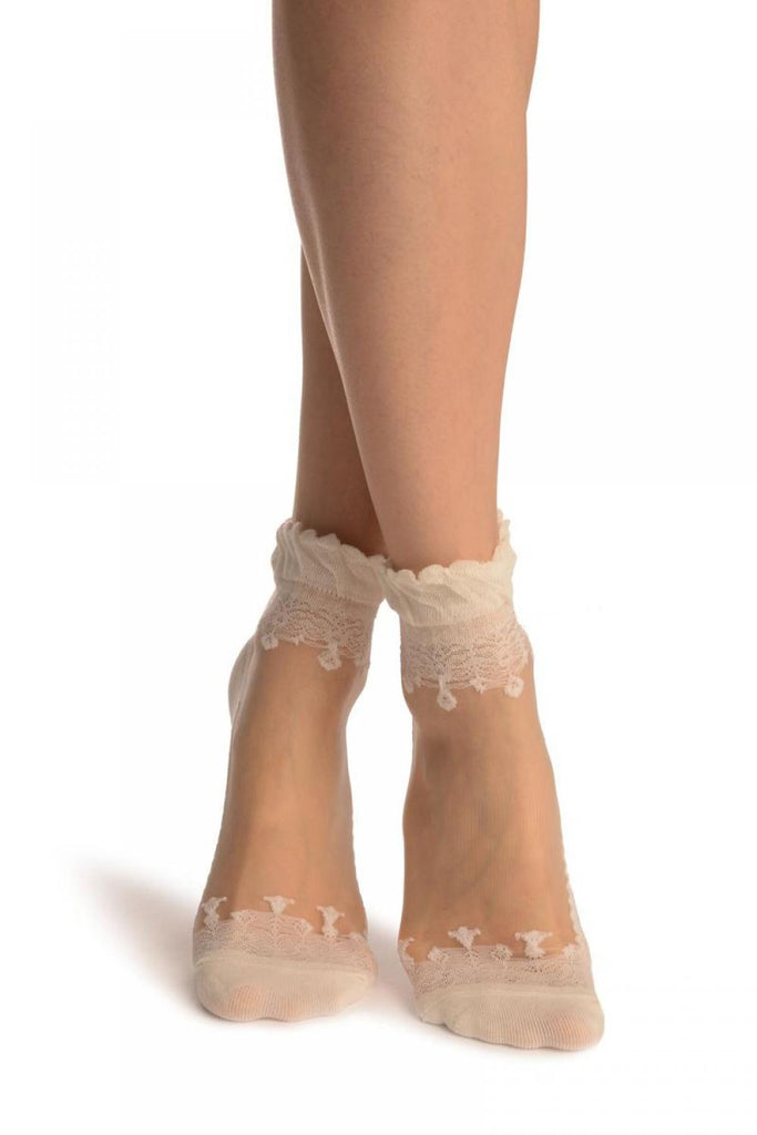 Cream Versalles Lace On Invisible Mesh Ankle High Socks