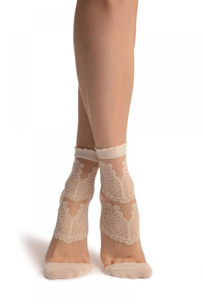 Cream Hearts On Invisible Mesh Ankle High Socks